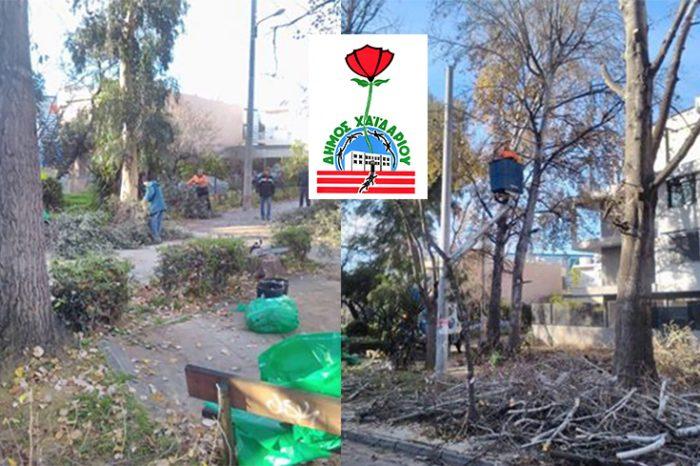 Εργασίες καθαρισμού και αναμόρφωσης  στην πλατεία Σπύρου Νάκου  από συνεργεία του δήμου Χαϊδαρίου