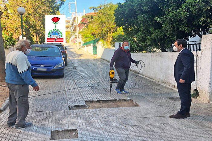Συνεχείς είναι οι εργασίες συντηρήσεων και επισκευών σε πεζοδρόμια, πλακοστρώσεις και κοινόχρηστους χώρους του Δήμου Χαϊδαρίου