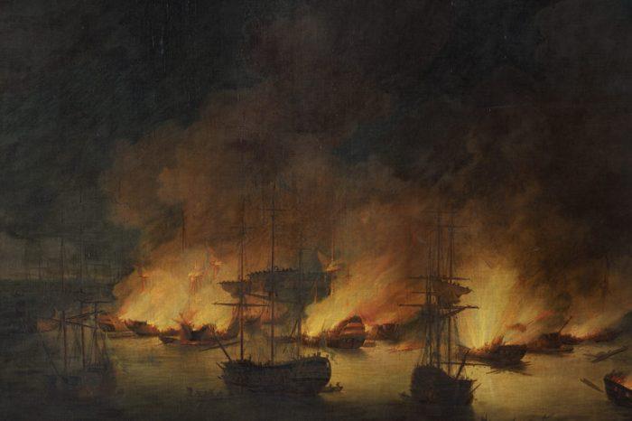 Σαν σήμερα: To 1770 ο τουρκικός στόλος καταστρέφεται στον λιμένα Τσεσμέ της Σμύρνης από τους Ρώσους